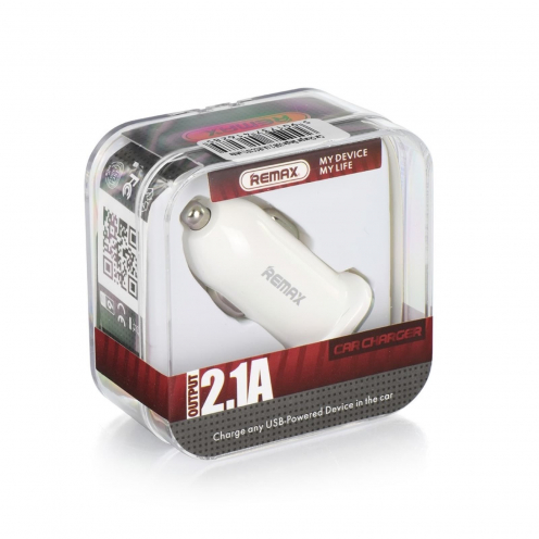 REMAX Chargeur Voiture Single USB 2.1A RCC101 Blanc