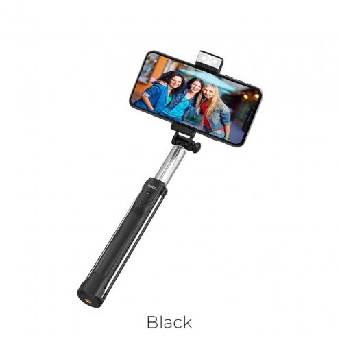 HOCO selfie stick with wirelles remote control + lamp K10A Magnificent 1,1 M. Noir