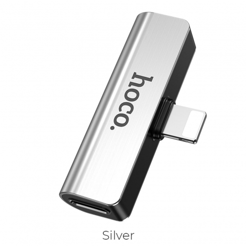 HOCO convertisseur audio LS25 Digital pour Iphone Lightning 8-pin - Jack 3,mm+Lightning 8-pin silver