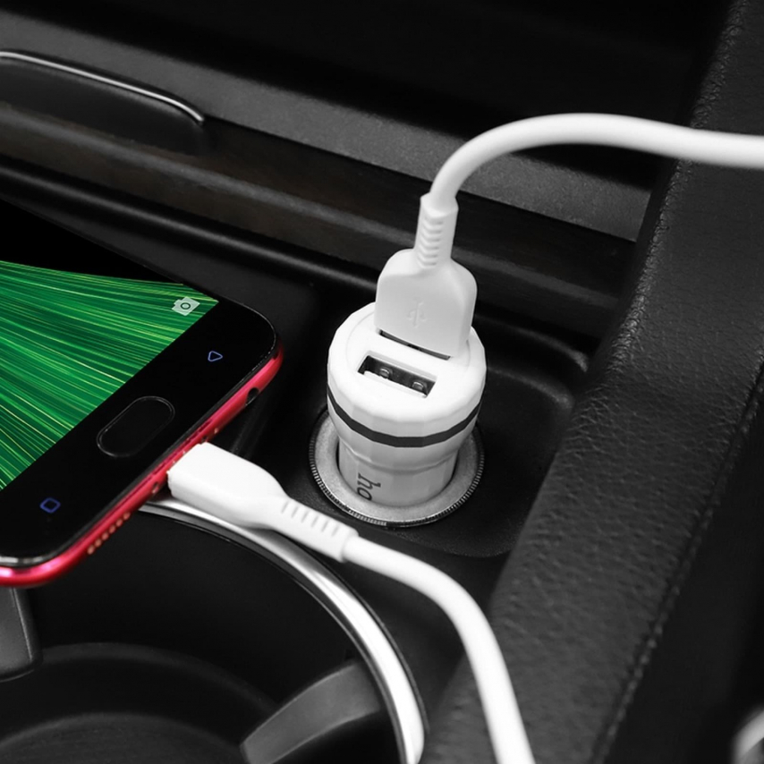 HOCO Chargeur Voiture Staunch 2 x USB 2,4A Z27 Blanc