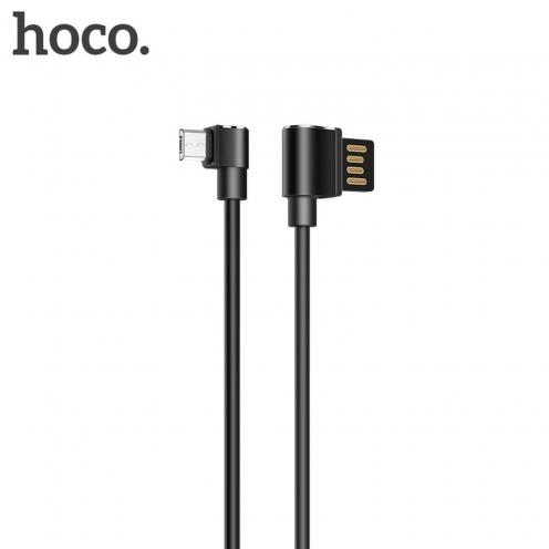 HOCO Long roam Câble data & charge pour Micro U37 90 degree 1,2 M. Noir