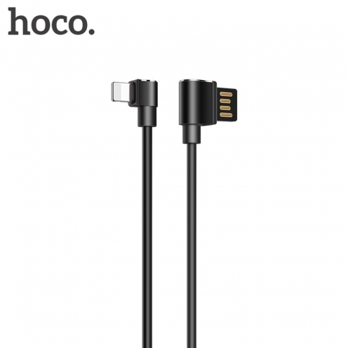 HOCO Long roam Câble data & charge pour Iphone Lightning 8-pin U37 90 degree 1,2 M. Noir