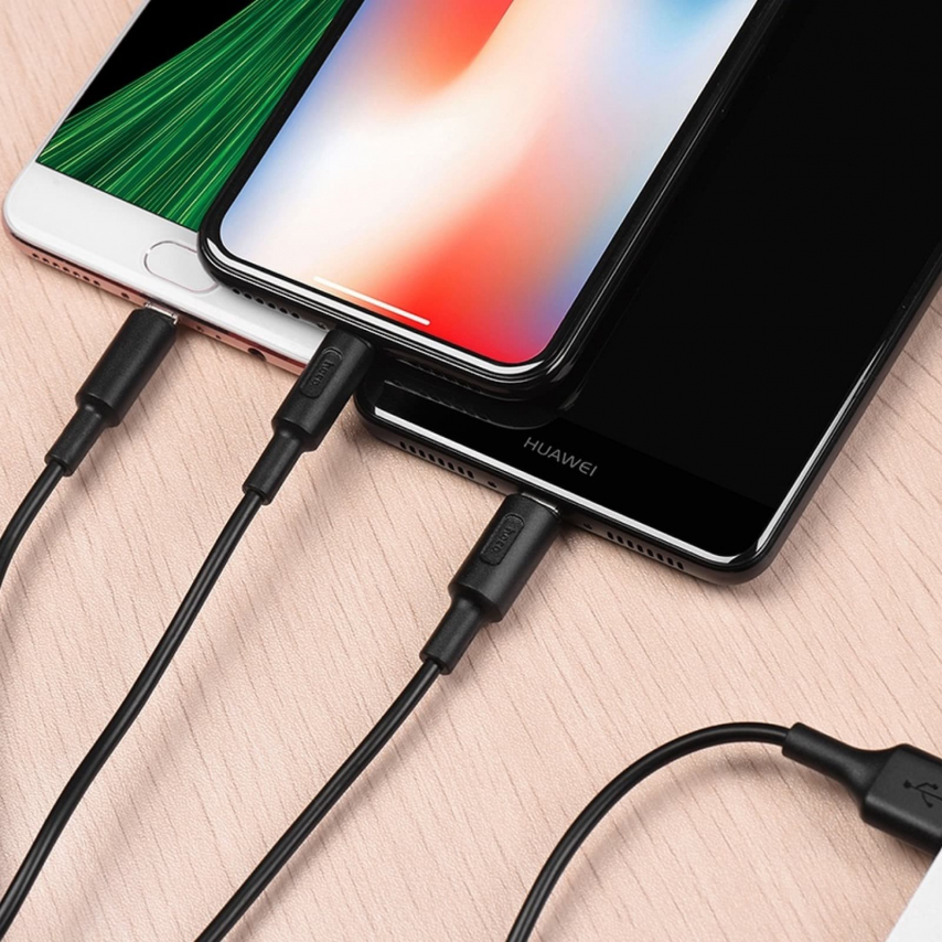 HOCO Soarer Soarer one pull three charging cable 3 en 1 (do Iphone Lightning 8-pin+Micro+Typ C) X25 Noir