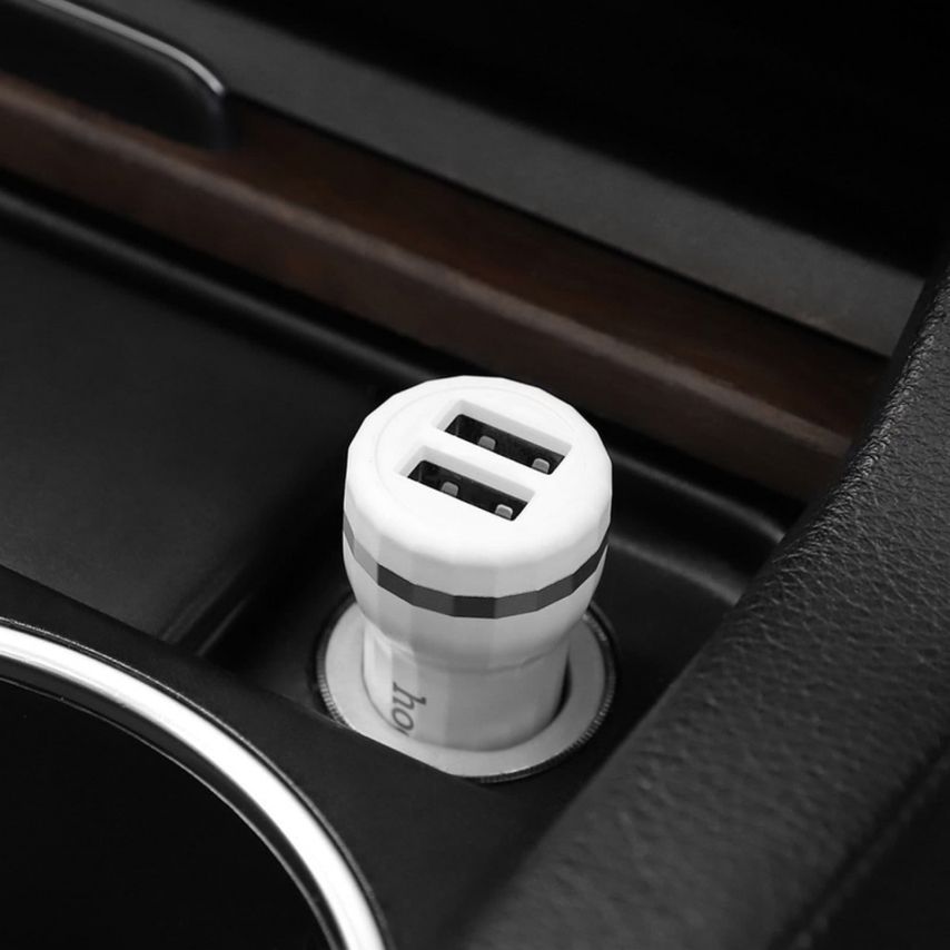 HOCO Chargeur Voiture Staunch 2 x USB 2,4A + cable Type C Z27 Blanc