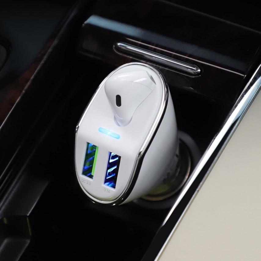 Hoco® Ecouteurs Bluetooth Traveller avec Station d'Accueil et Chargeur Voiture (2xUSB) E47 Blanc