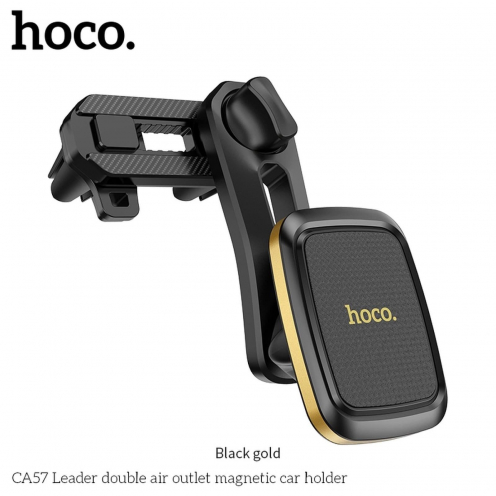 HOCO Support Voiture Leader double air outlet CA57 Noir Or