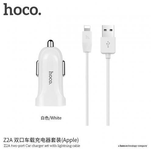 HOCO Chargeur Voiture double USB port 2,4A avec Lightning Câble Z2A Blanc