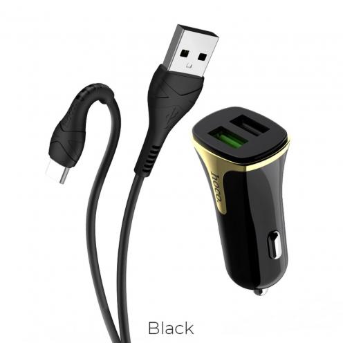 HOCO Chargeur Voiture Universe double port QC3.0 avec Câble Type-C Z31 Noir