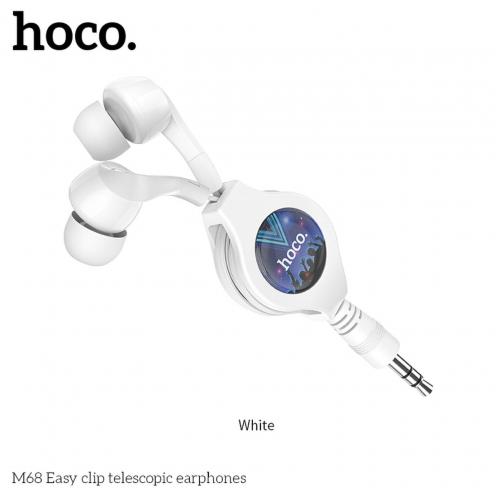 HOCO Ecouteurs Easy clip telescopic M68 Blanc