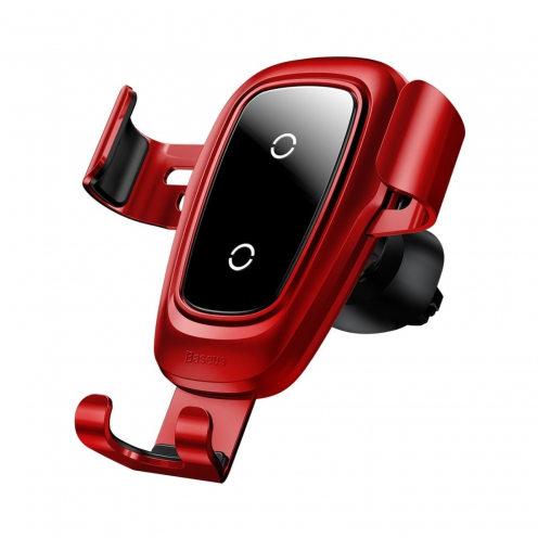 BASEUS Support Voiture Metal Charge Sans Fil Gravity Car Mount (Air Outlet Version) Red WXYL-B09