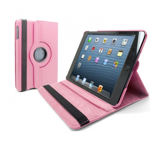 Coque iPad Mini rotative 360° cuir PU Rose