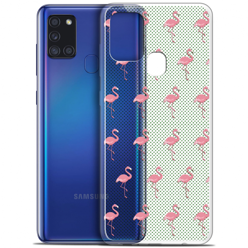 "Coque Gel Samsung A21S (6.5"") Pattern - Les flamants Roses Dots"