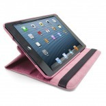 Photo réelle de Coque iPad Mini rotative 360° cuir PU Rose