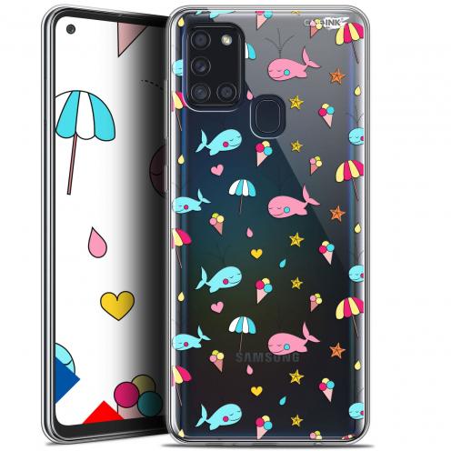 """Coque Gel Samsung A21S (6.5"""") Motif - Baleine à la Plage"""