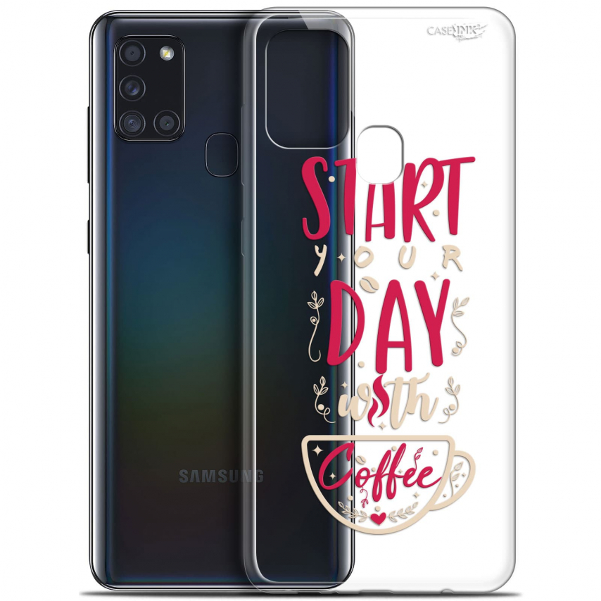 "Coque Gel Samsung A21S (6.5"") Motif - Start With Coffee"