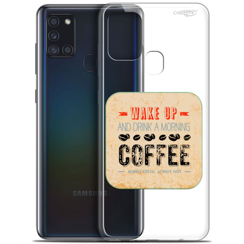 """Coque Gel Samsung A21S (6.5"""") Motif - Wake Up With Coffee"""