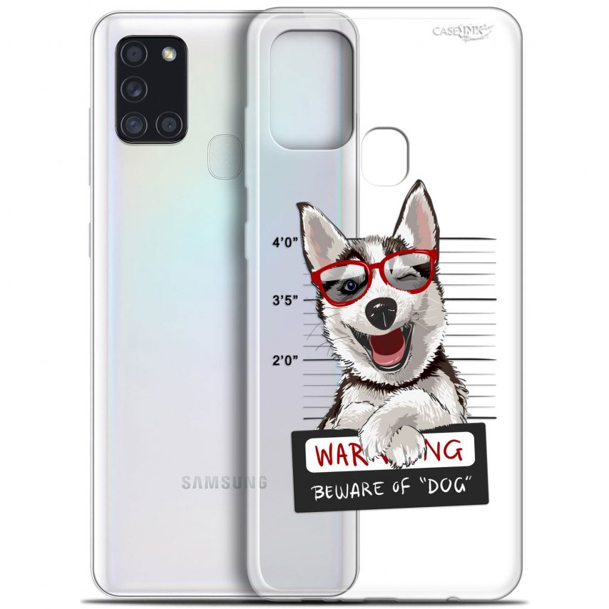 "Coque Gel Samsung A21S (6.5"") Motif - Beware The Husky Dog"