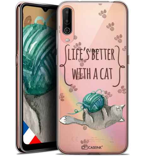 """Coque Gel Wiko View 4 (6.5"""") Quote - Life's Better With a Cat"""