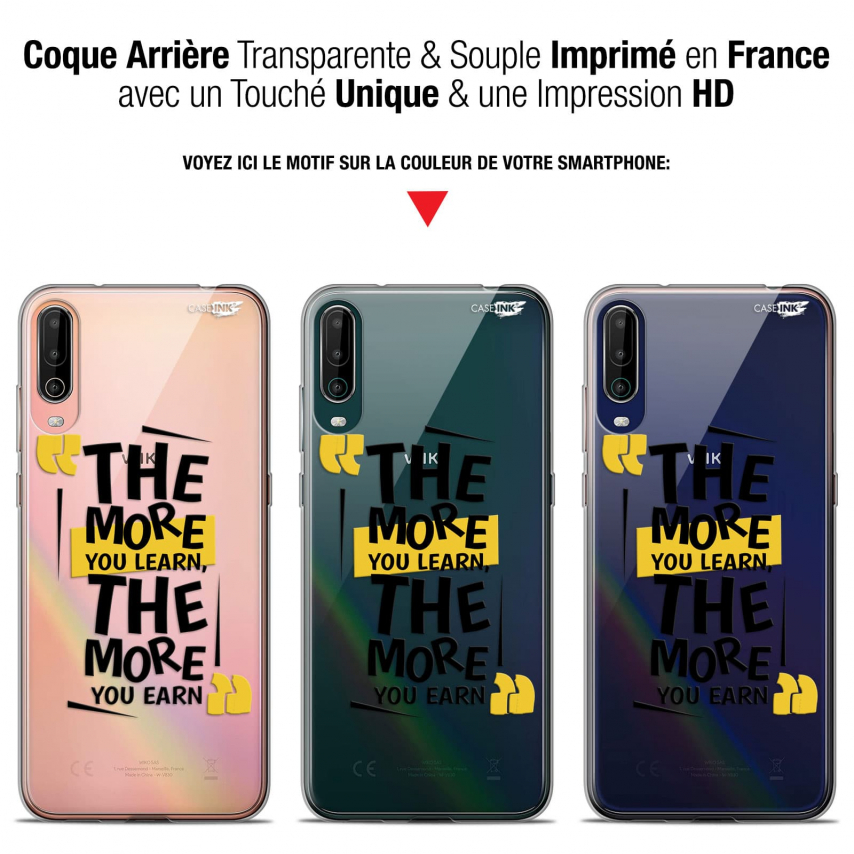 """Coque Gel Wiko View 4 (6.5"""") Motif - The More You Learn"""