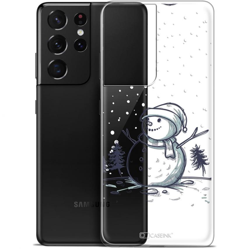 "Coque Gel Samsung Galaxy S21 Ultra (6.8"") Noël - Bonhomme de Neige"