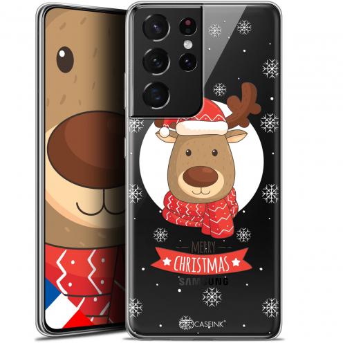 "Coque Gel Samsung Galaxy S21 Ultra (6.8"") Noël - Cerf à Echarpe"