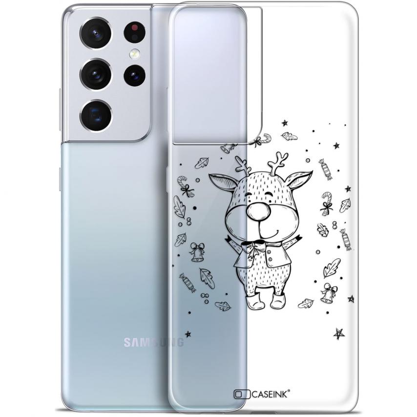 "Coque Gel Samsung Galaxy S21 Ultra (6.8"") Noël - Sketchy Cerf"