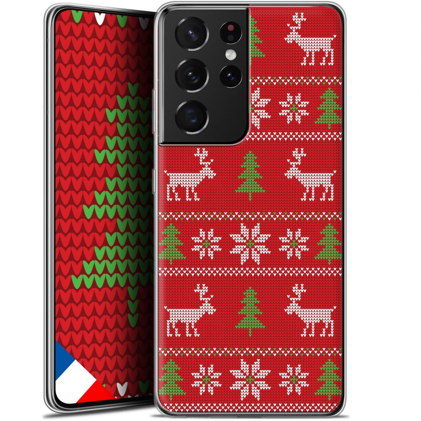 """Coque Gel Samsung Galaxy S21 Ultra (6.8"""") Noël - Couture Rouge"""