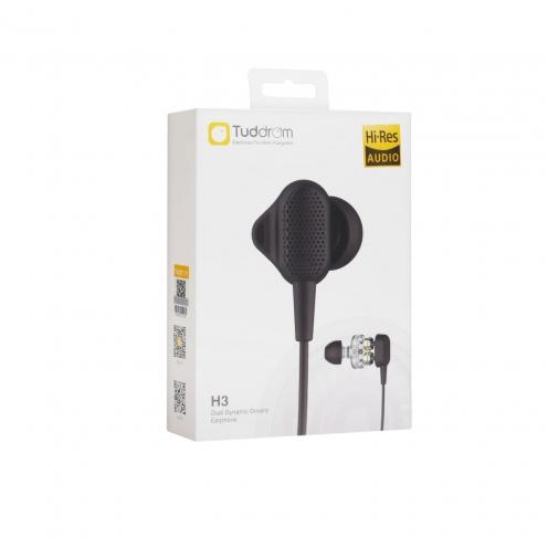 Ecouteurs UiiSii®-Tuddrom Dual Dynamic Drivers H3 mini jack 3,5mm Noir