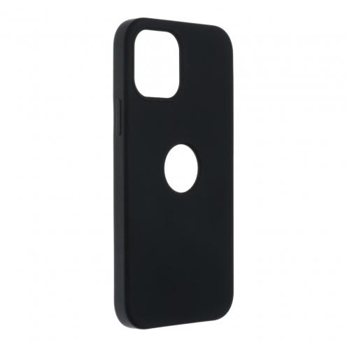 Forcell Silicone Coque Pour iPhone 12 / 12 PRO Noir (Avec Trou)