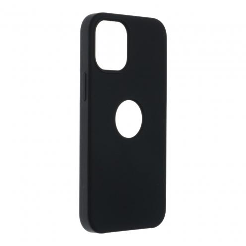 Forcell Silicone Coque Pour iPhone 12 MINI Noir (Avec Trou)