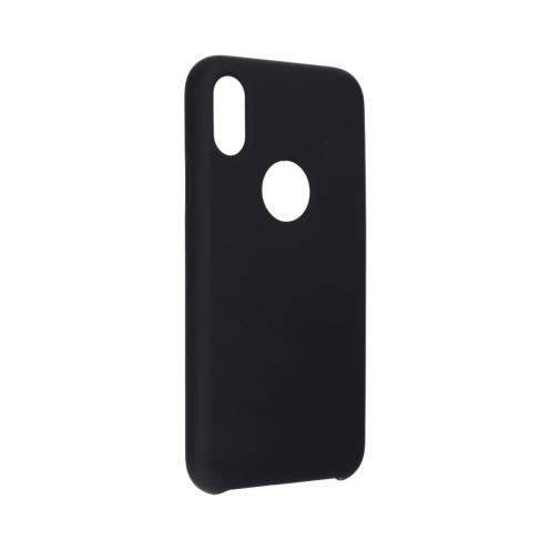 Forcell Silicone Coque Pour iPhone X Noir (Avec Trou)