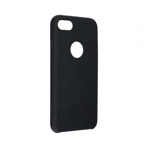 Forcell Silicone Coque Pour iPhone 8 Noir (Avec Trou)