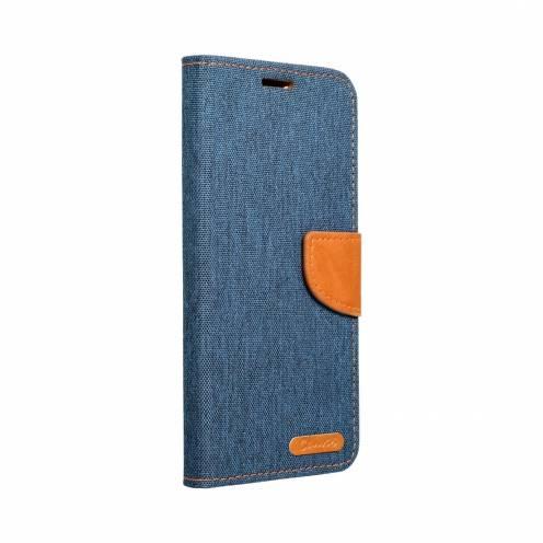 Coque Etui Canvas Book Pour Samsung A12 Bleu Marine