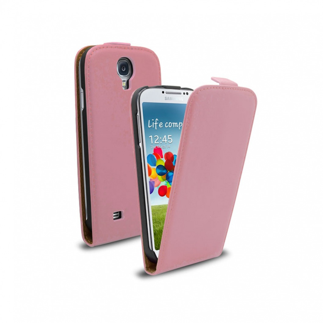Housse samsung galaxy s4 clapet croute de cuir rose for Housse samsung galaxy s4
