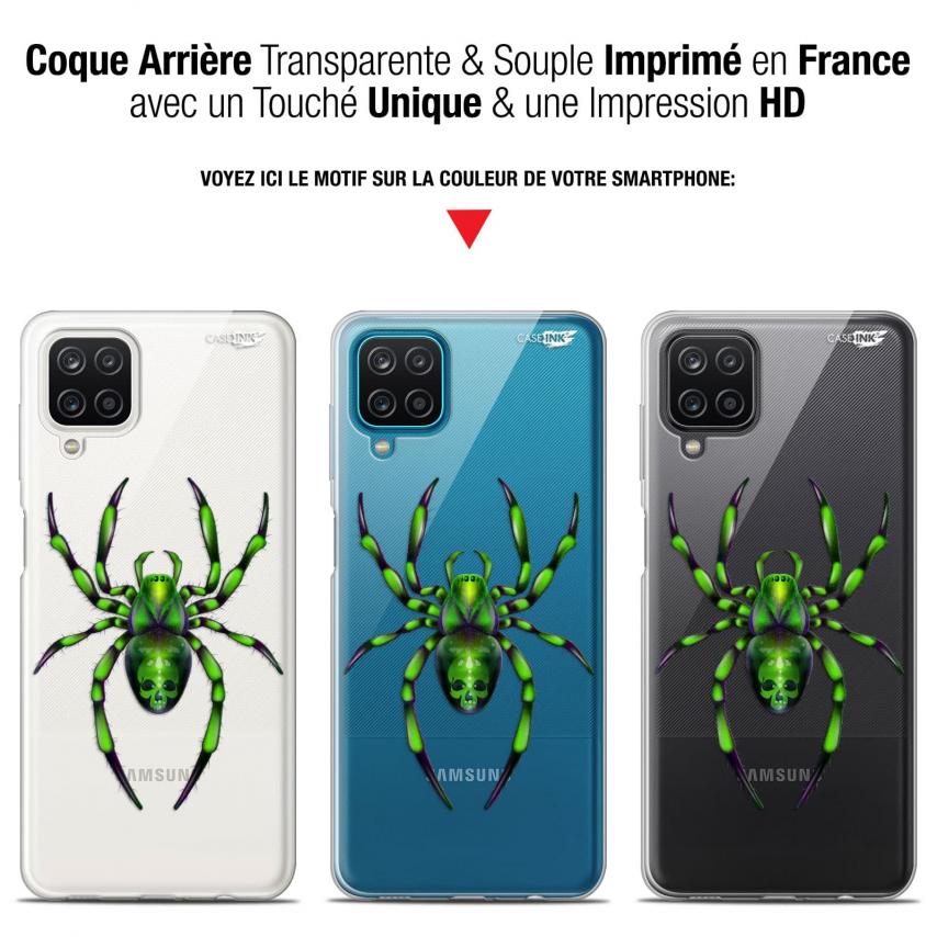 "Coque Gel Samsung Galaxy A12 (6.5"") Motif - Arraignée Verte"