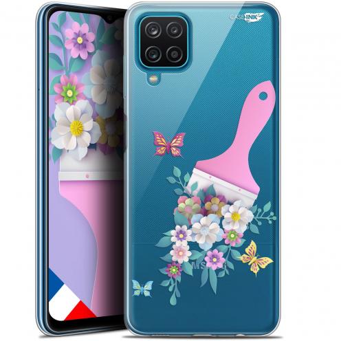 "Coque Gel Samsung Galaxy A12 (6.5"") Motif - Pinceau à Fleurs"