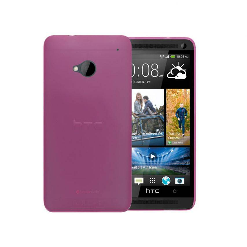 Photo réelle de Coque Ultra Fine 0.3mm Frost HTC One Rose