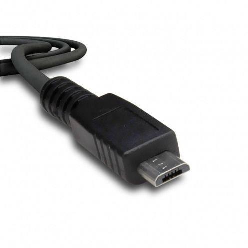 Zoom sur Câble de synchronisation et transfert USB à Micro USB Noir
