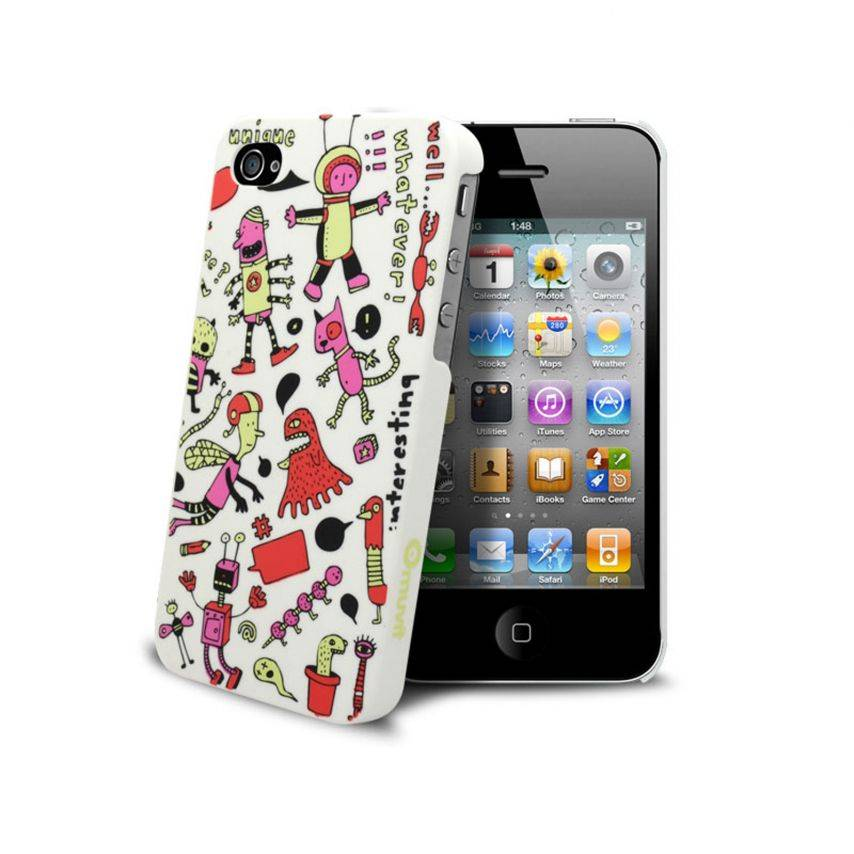 coque muvit doodle extraterrestres iphone 4s 4. Black Bedroom Furniture Sets. Home Design Ideas