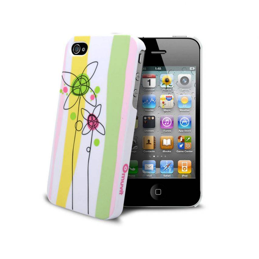 Visuel unique de Coque Muvit® Doodle Flowers iPhone 4S/4