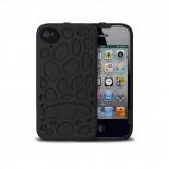 Vue complémentaire de Coque Freshfiber® Peeble Double Cap iPhone 4S/4 Noire