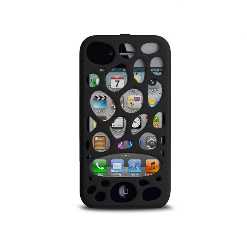 Photo réelle de Coque Freshfiber® Peeble Double Cap iPhone 4S/4 Noire