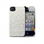 Vue complémentaire de Coque Freshfiber® Peeble Double Cap iPhone 4S/4 Blanche