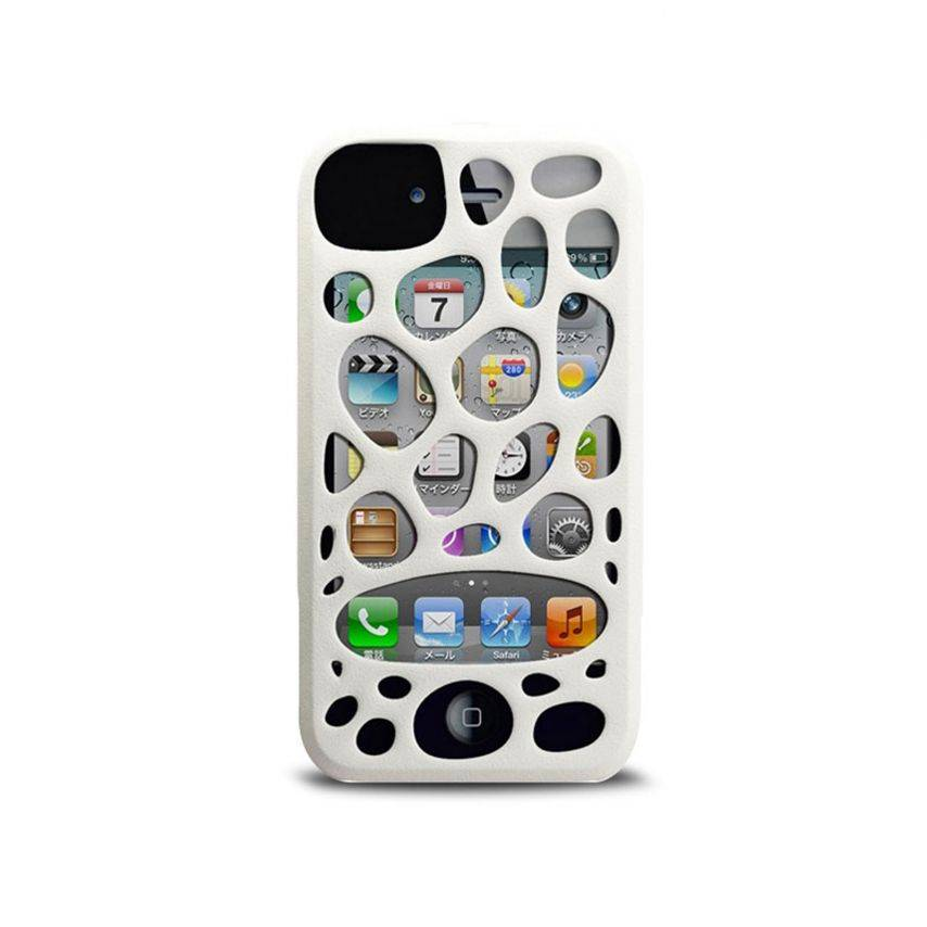 Photo réelle de Coque Freshfiber® Peeble Double Cap iPhone 4S/4 Blanche