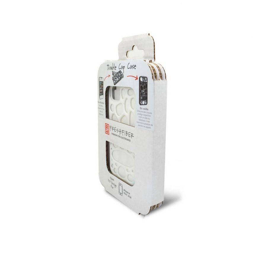 Visuel supplémentaire de Coque Freshfiber® Peeble Double Cap iPhone 4S/4 Blanche