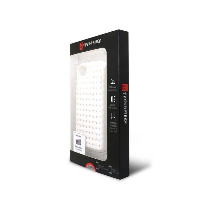 Vue complémentaire de Coque Freshfiber® Weave iPhone 4S/4 Blanche