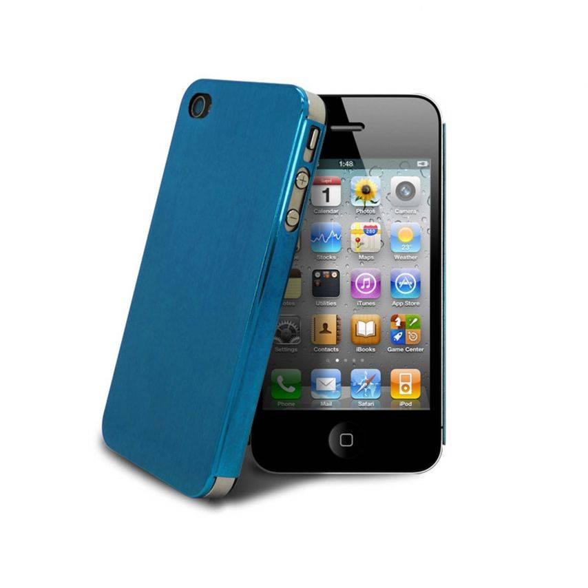 Vue portée de Coque Ultra-Fine 0,3 mm métal brossé Acero iPhone 4/4S Bleue