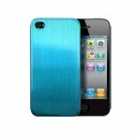 Photo réelle de Coque Ultra-Fine 0,3 mm métal brossé Acero iPhone 4/4S Bleue