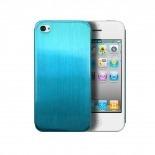 Zoom sur Coque Ultra-Fine 0,3 mm métal brossé Acero iPhone 4/4S Bleue