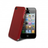 Photo réelle de Coque Ultra-Fine 0,3 mm métal brossé Acero iPhone 4/4S Rouge